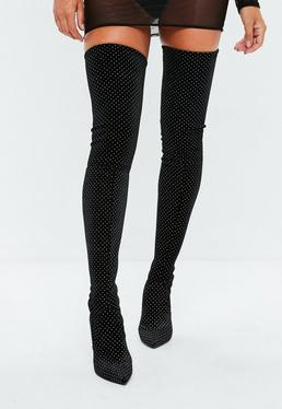Black Glitter Velvet Over The Knee Boots