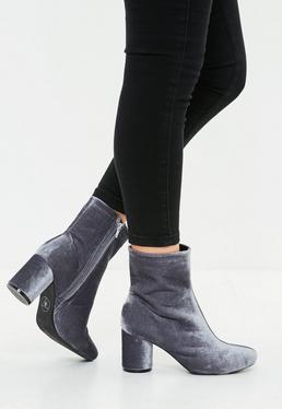 Gray Velvet Round Toe Ankle Boot