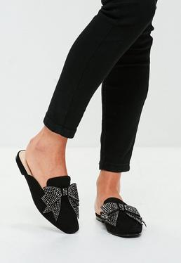 Black Embellished Bow Slip On Mule