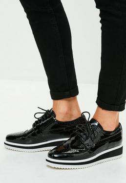 Black Square Front Platform Brogues