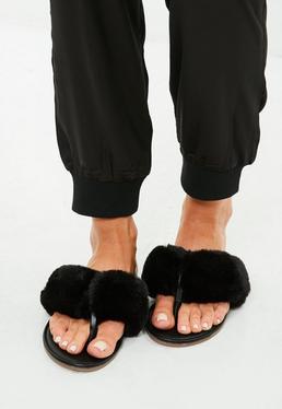 Black Faux Fur Toe Post Sandals
