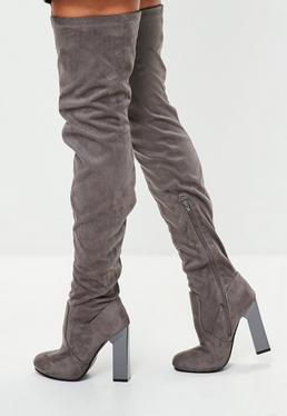 Grey Feature Heel Thigh High Boots