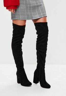 Black Low Heel Thigh High Boots
