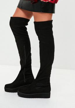 Czarne kozaki za kolano na platformie