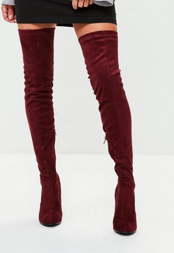 Burgundy Feature Heel Thigh High Boots Missguided