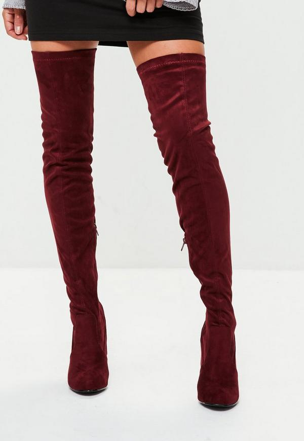Burgundy Feature Heel Thigh High Boots