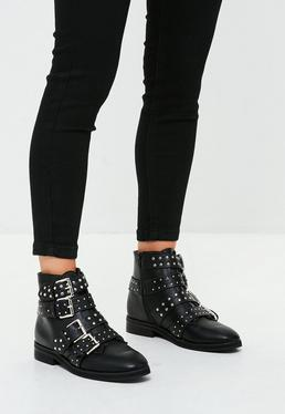 Black Studded Four Buckle Strap Ankle Boot
