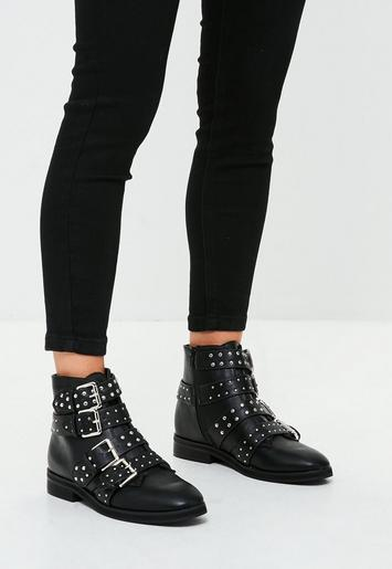 Black Studded Four Buckle Strap Ankle Boots Missguided