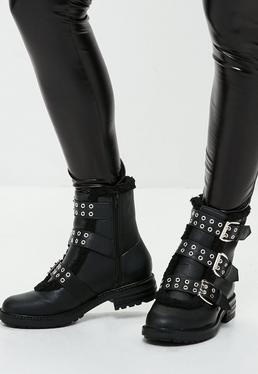 Black Fur Trim Buckle Strap Ankle Boots