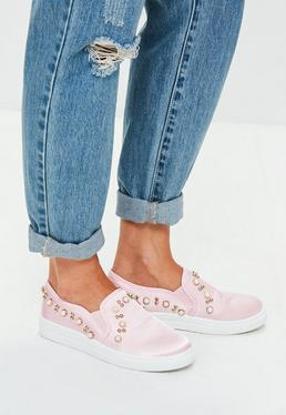 Pink Pearl Embellished Slip On Sneakers