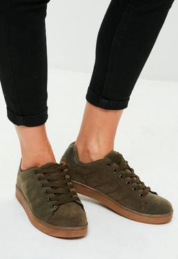 Khaki Faux Suede Contrasting Sole Trainers