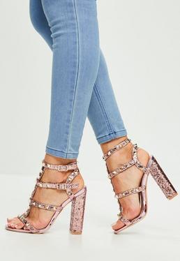 Pink Glitter Studded Gladiator Sandals