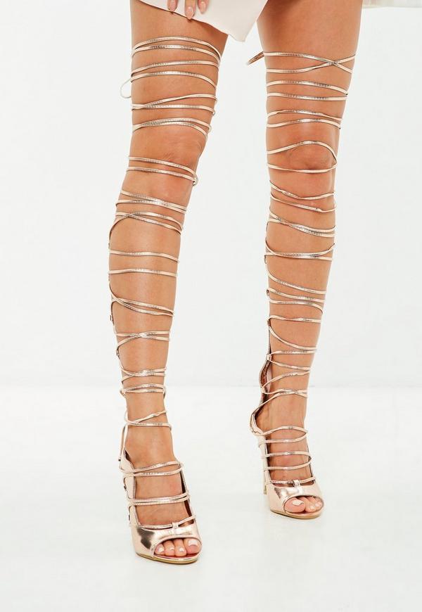 rose gold knee high gladiator heeled sandals missguided. Black Bedroom Furniture Sets. Home Design Ideas