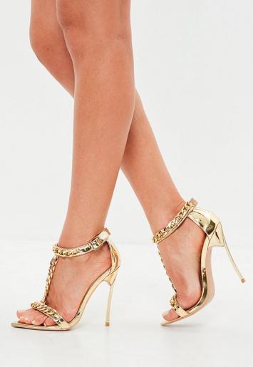 peace love goldene high heels mit ketten riemen missguided. Black Bedroom Furniture Sets. Home Design Ideas
