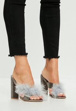 Gray Feather Satin Cross Vamp Heeled Mules
