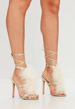 Cream T-bar Feather Heeled Sandals