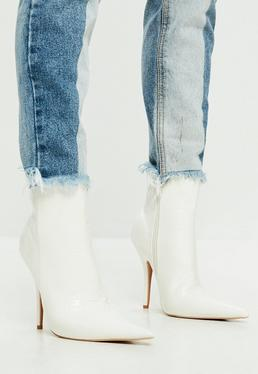 White Extreme Pointed Croc Print Ankle Boots
