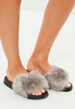 Gray Faux Fur Platform Slider