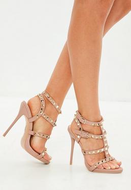 Pink Studded Gladiator Heeled Sandal