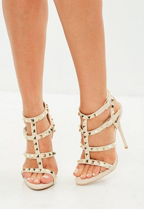 Cream Studded Gladiator Heeled Sandal | Missguided