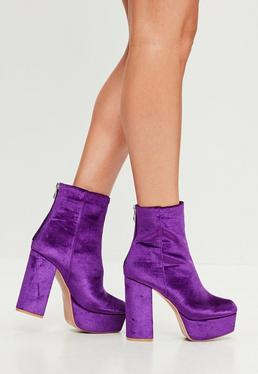 Purple Velvet Platform Heeled Ankle Boots