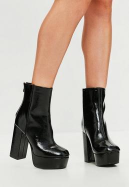 Black Vinyl Platform Heeled Ankle Boots