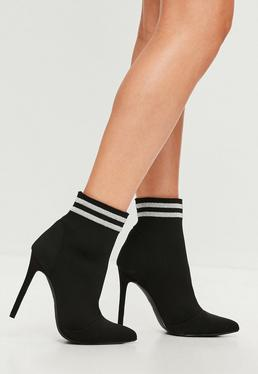 Carli Bybel x Missguided Black Pointed Striped Boots