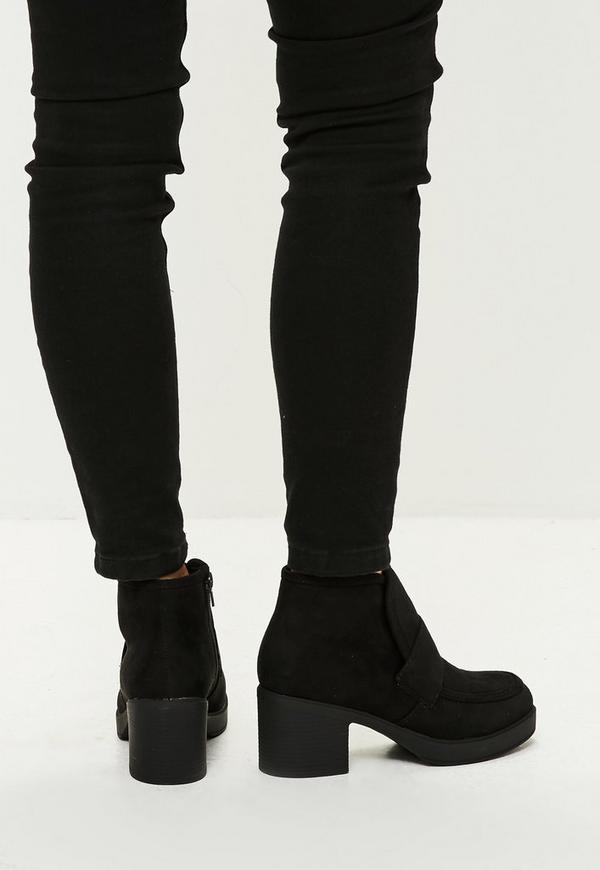 schwarze chelsea boots aus faux wildleder missguided. Black Bedroom Furniture Sets. Home Design Ideas