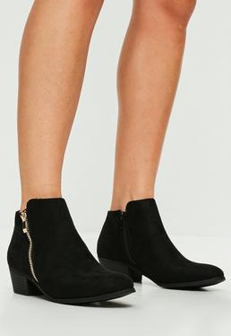 Black Side Zip Ankle Boots