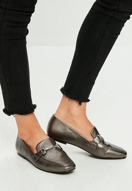 Silver Metallic Loafer Flat Shoes