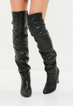 Black Faux Leather Ruched Boots