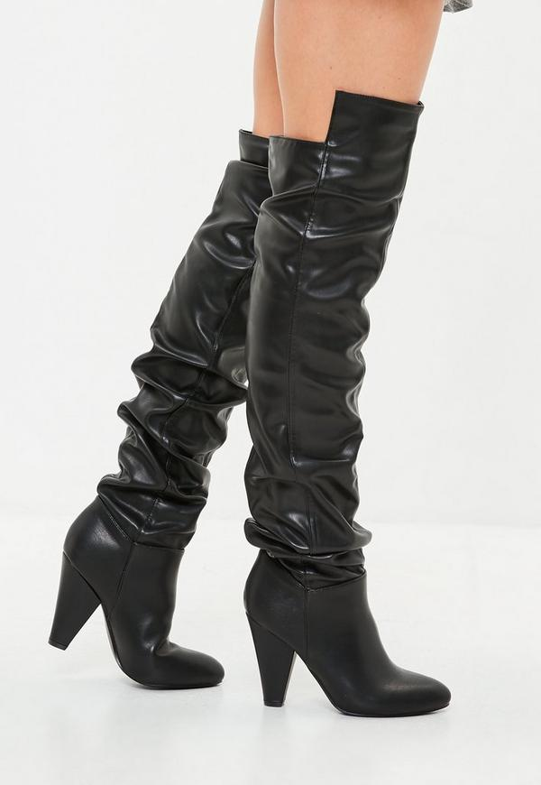 Black Faux Leather Ruched Boots by Missguided