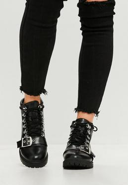 Black Faux Leather Hiker Ankle Boots