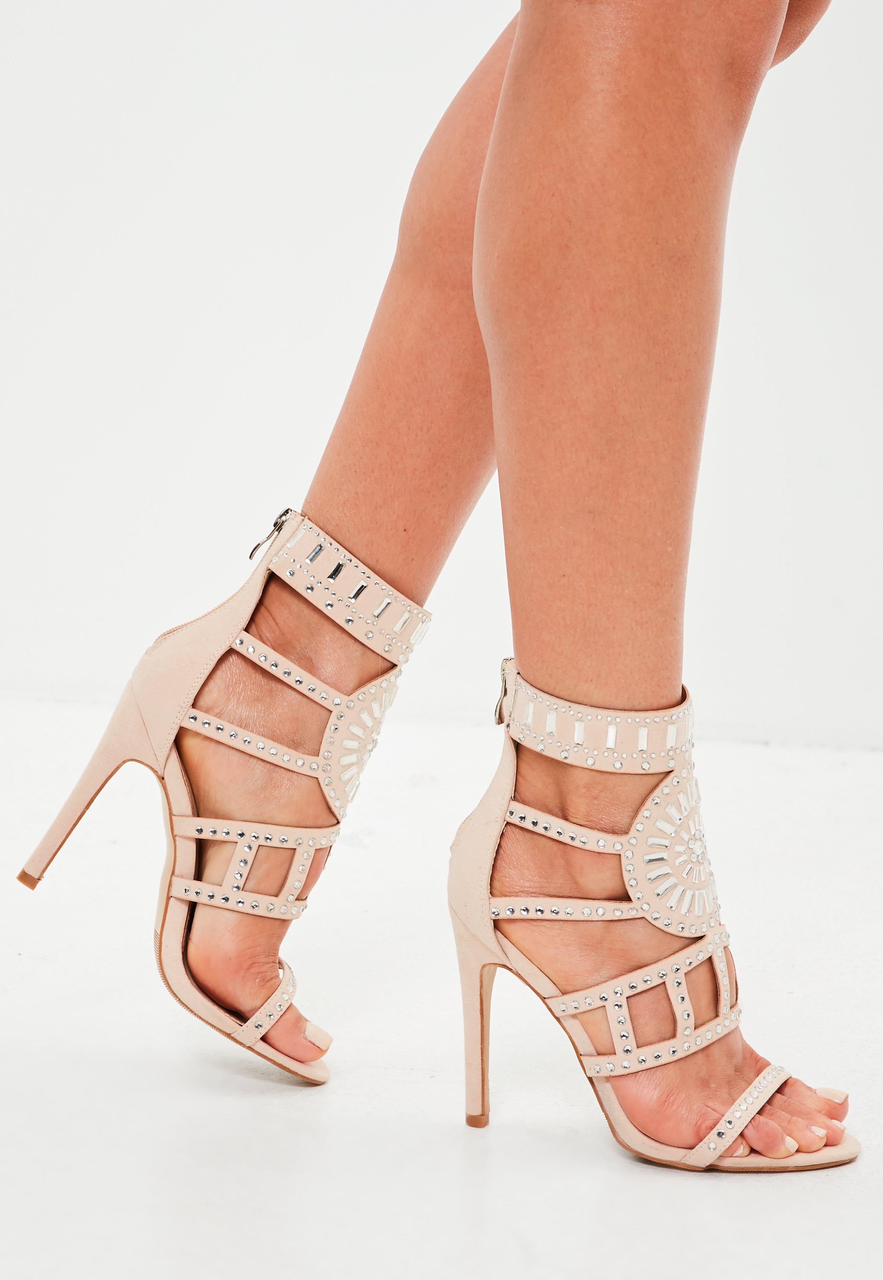 Nude Embellished Gladiator Heeled Sandals