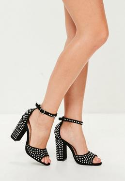 Black All Over Embellished Heeled Sandals