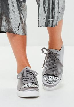 Silver Embellished Toe Cap Lace Up Sneakers