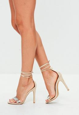 Nude Jewel Detail Barely There Heels
