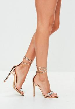 Gold Jewel Detail Barely There Heels