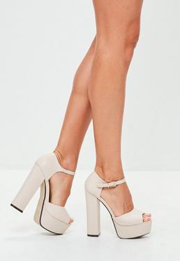 Nude Platform Heeled Sandals
