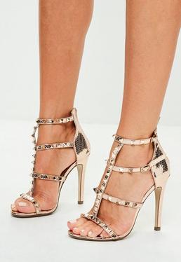 Sandały na szpilce w kolorze różowego złota