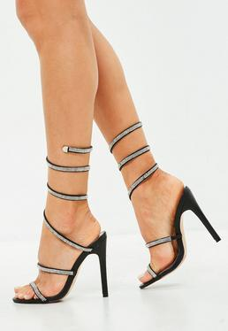 Black Embellished Spiral Heeled Sandals