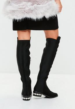 Black Pearl Heel Knee High Boots