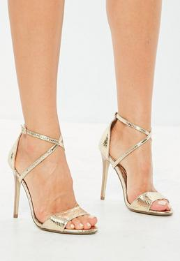 gold cross strap barely there heels