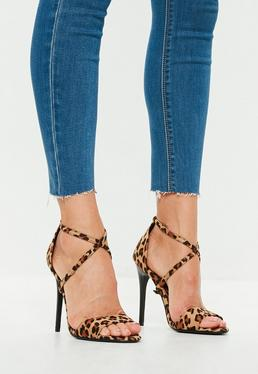 Leopard Cross Strap Barely There Heels