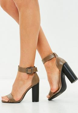 Brown Big Buckle Block Heeled Sandals