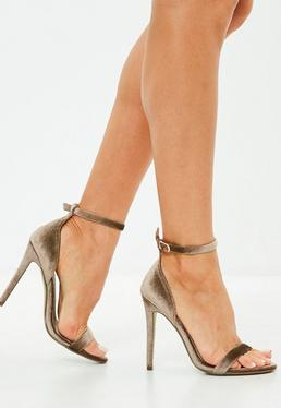 Brown Two Strap Velvet Barely There Heels