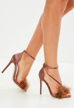 Nude Feather Asymmetric Sandals