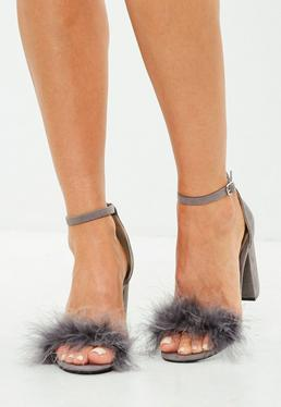 Grey Feather Mid Block Heeled Sandals