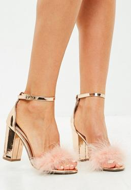 Gold Metallic Feather Mid Block Heeled Sandals
