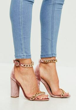 Pink Chain Block Heeled Sandals
